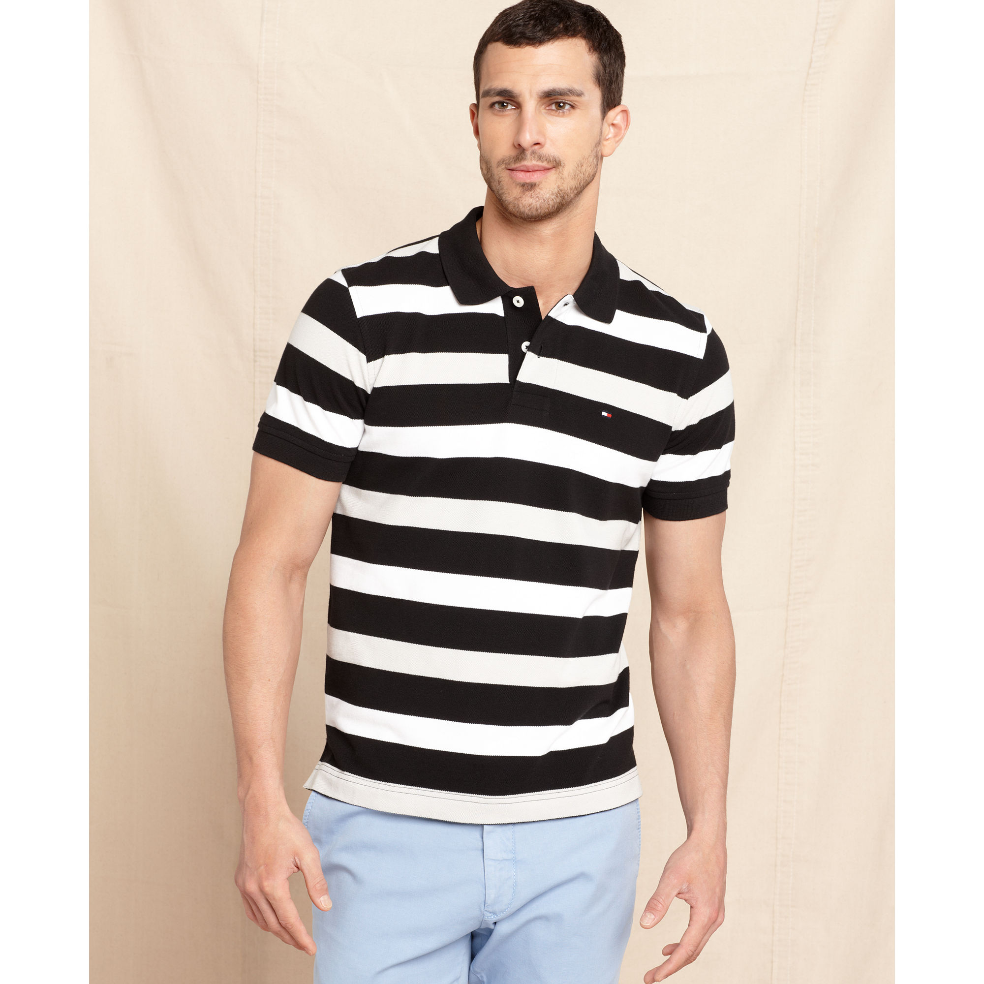 9ba3c2ca Tommy Hilfiger Cloverville Slim Fit Stripe Polo Shirt in Black for ...
