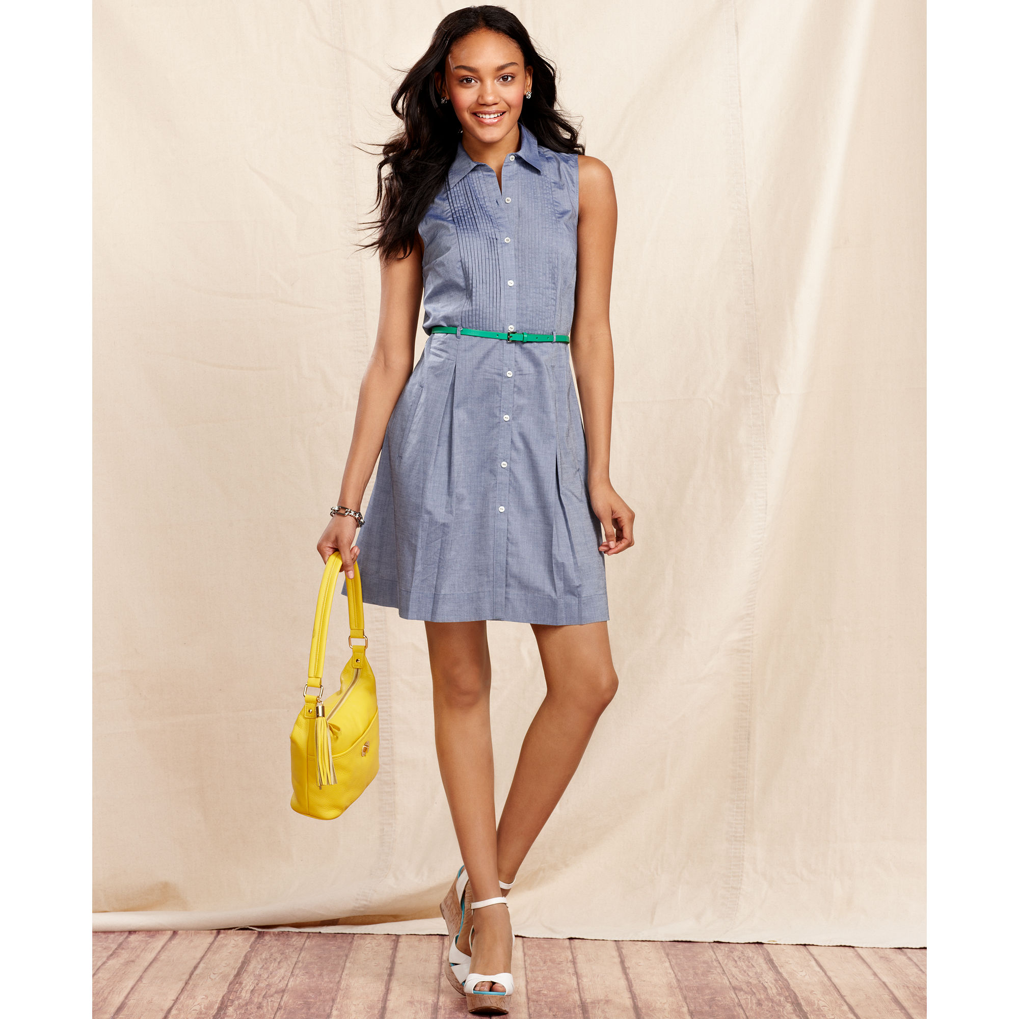 Tommy hilfiger sleeveless belted chambray dress in blue for Chambray dress