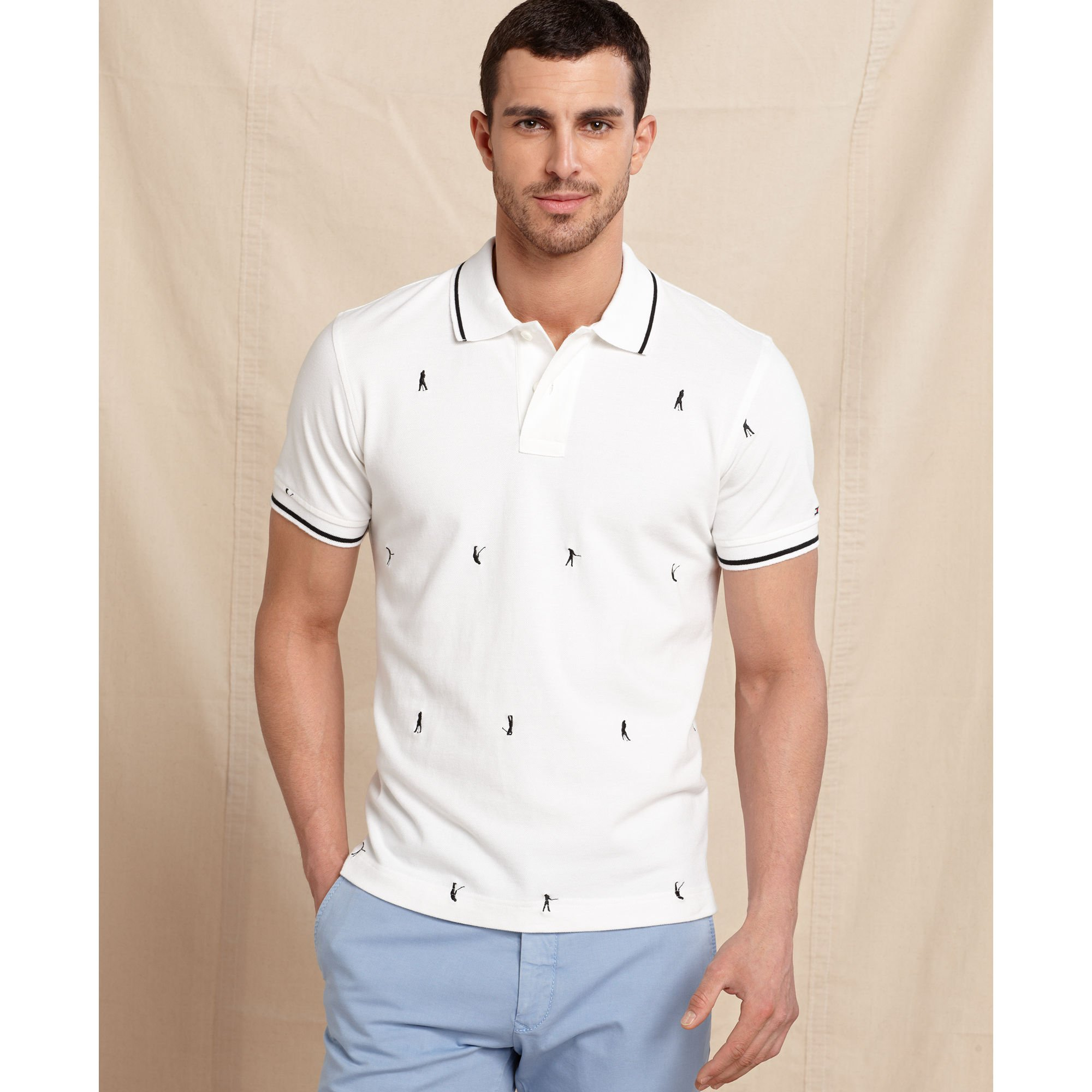 7715c237 Tommy Hilfiger Palmer Slim Fit Print Polo Shirt in White for Men - Lyst
