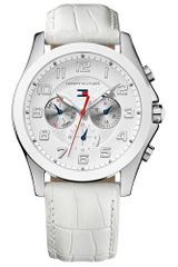 Tommy Hilfiger Womens White Crocembossed Leather Strap 41mm - Lyst
