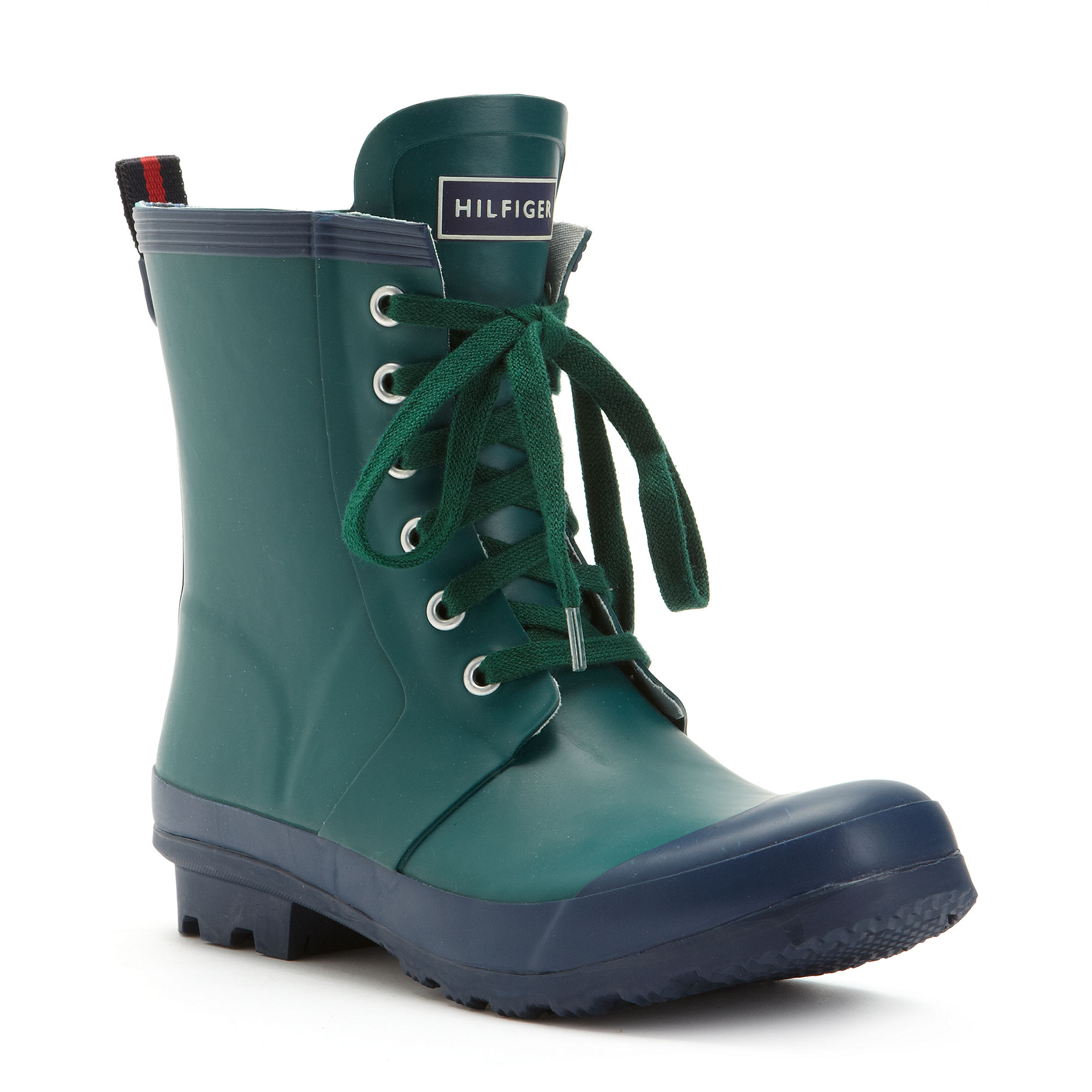 tommy hilfiger renegade rain booties in green pine green. Black Bedroom Furniture Sets. Home Design Ideas