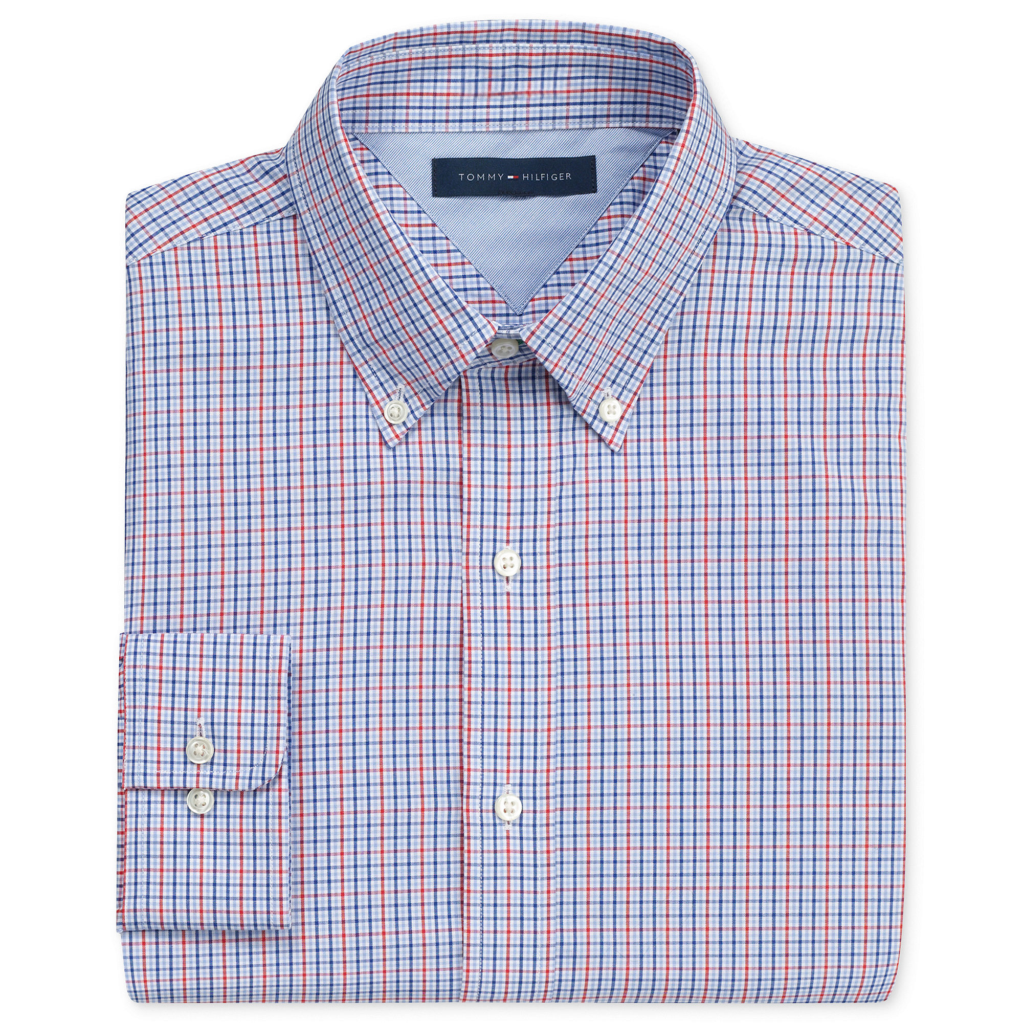 af09b0ac2bb3 Lyst - Tommy Hilfiger Red and Blue Mini Box Check Long Sleeve Shirt ...