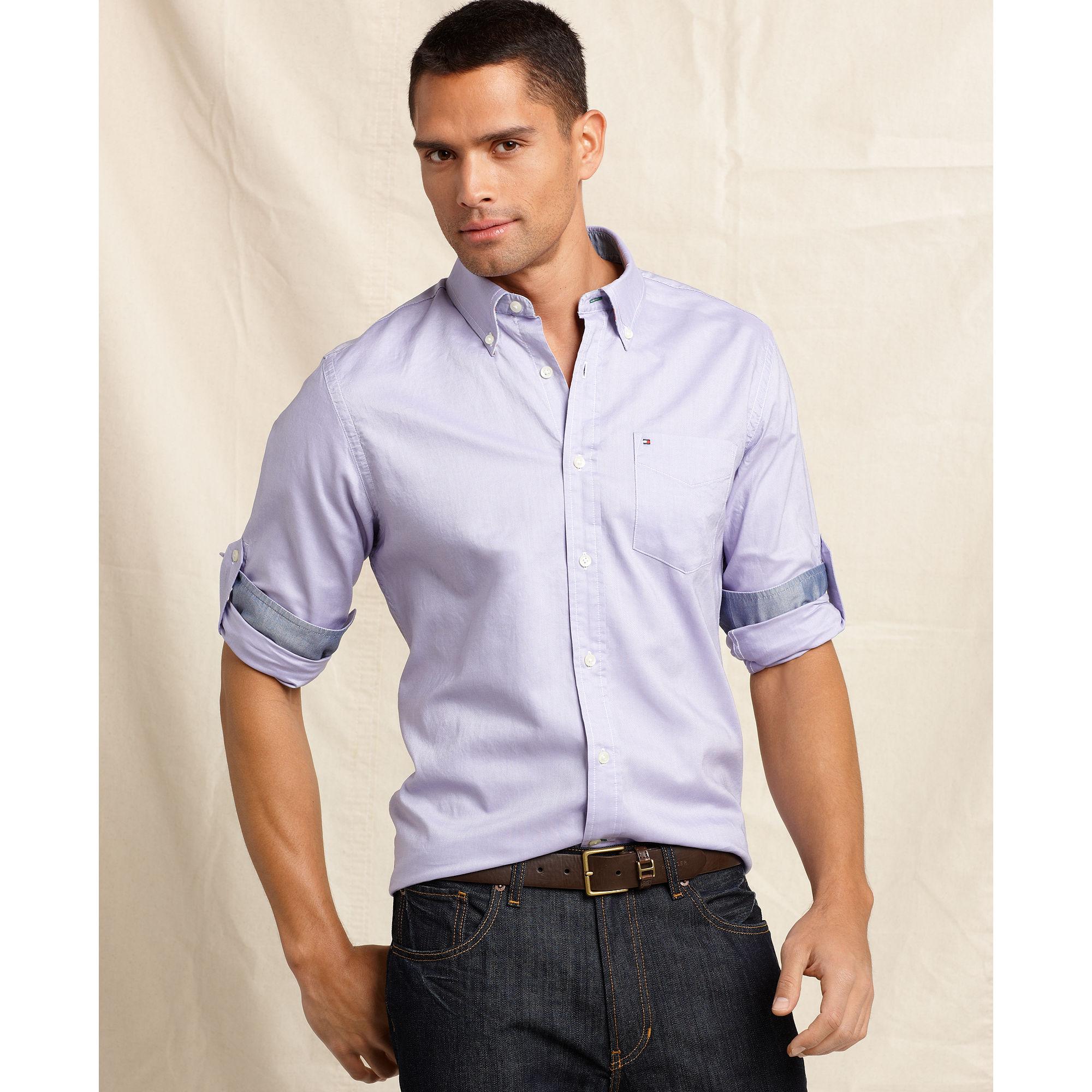 tommy hilfiger long sleeve slim fit cornell shirt in. Black Bedroom Furniture Sets. Home Design Ideas