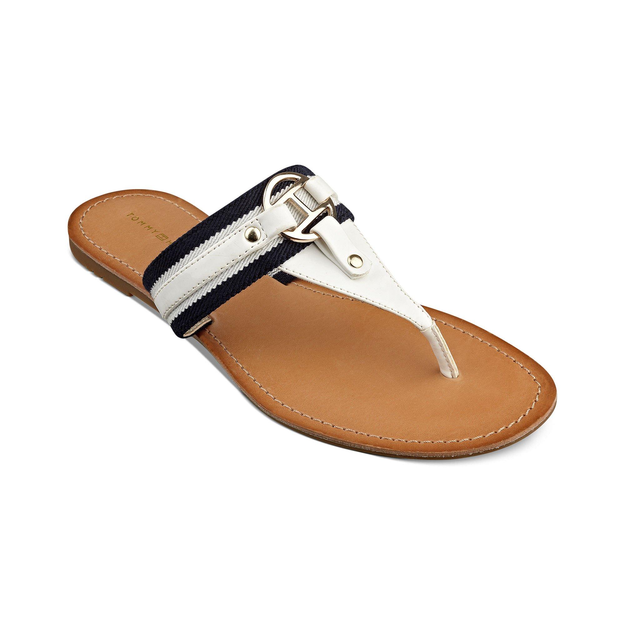 Tommy Hilfiger Lara Tara Flat Thong Sandals In White Lyst