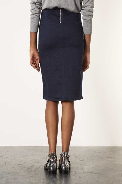 topshop moto indigo denim midi skirt in blue indigo lyst