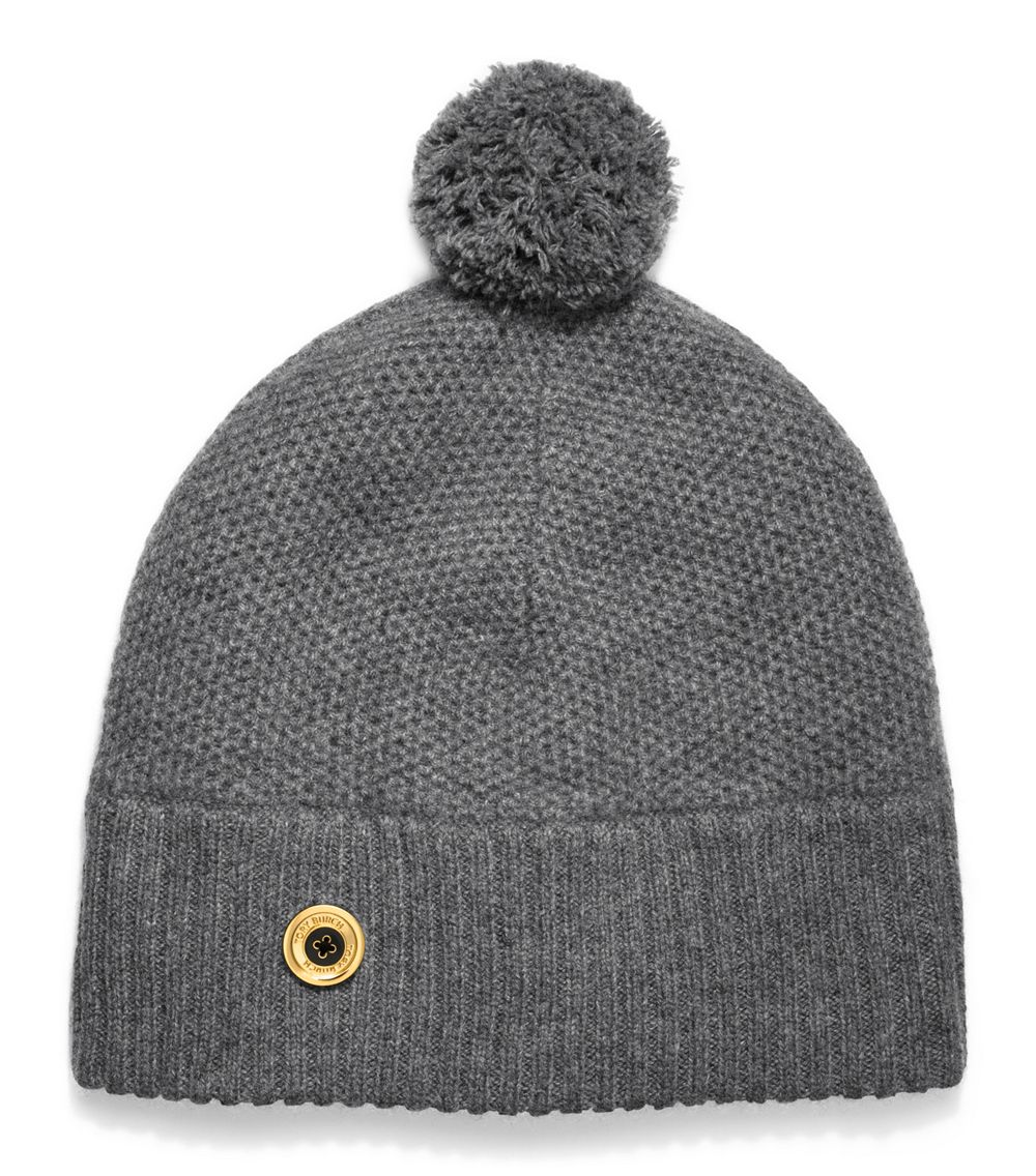 28aac65b61e Tory Burch Moss Cashmere Stitch Pompom Hat in Gray - Lyst