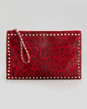 Valentino Rockstud Leopardprint Calfhair Zip Clutch Bag Red - Lyst