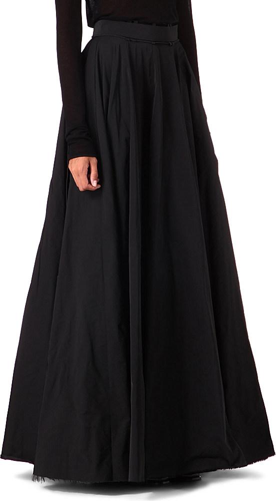 yang li satin maxi skirt in black lyst