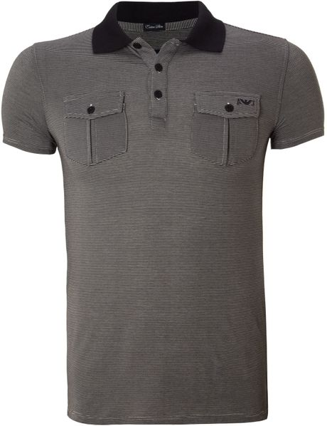Armani jeans contrast collar striped two pocket polo shirt for Two pocket polo shirt