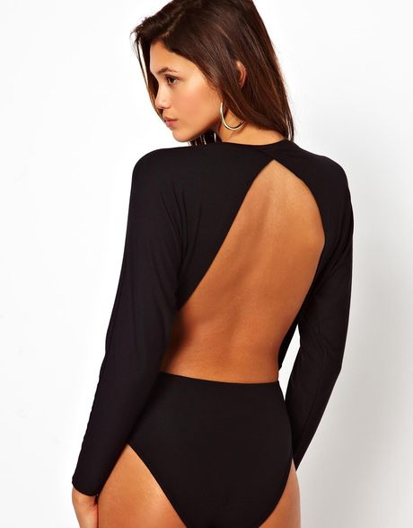 asos body with open back and batwing sleeve in purple black lyst. Black Bedroom Furniture Sets. Home Design Ideas