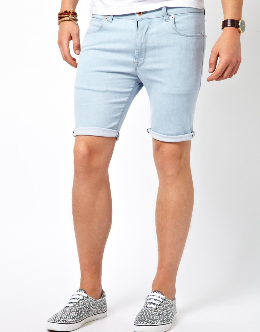 Asos Denim Shorts In Super Skinny Fit In Blue For Men Lyst