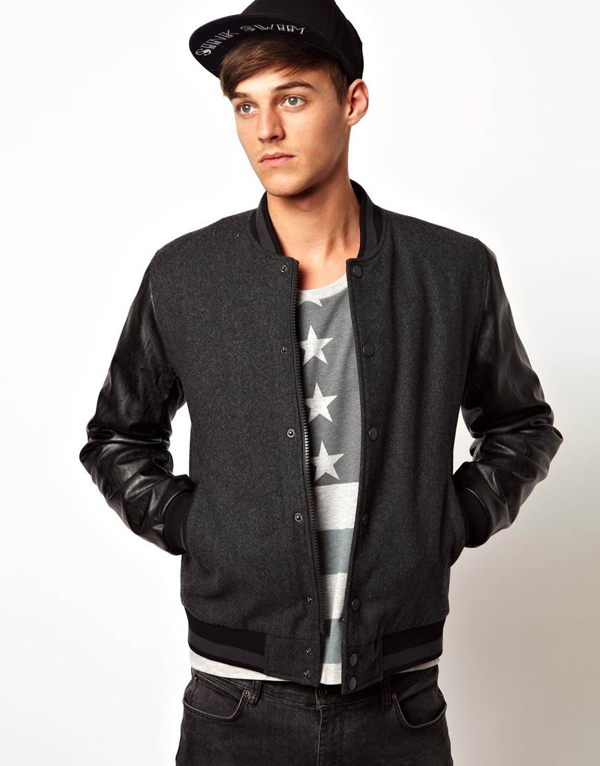 Nudie jeans Asos Wool Bomber Jacket with Faux Leather Sleeves in