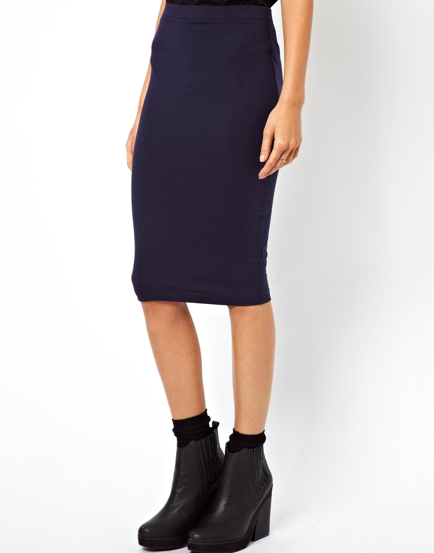 asos pencil skirt in jersey in blue navy lyst