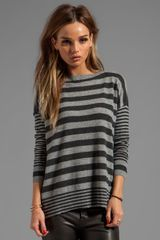 Autumn Cashmere Boxy Mixed Stripe Boatneck Sweater in Gray - Lyst