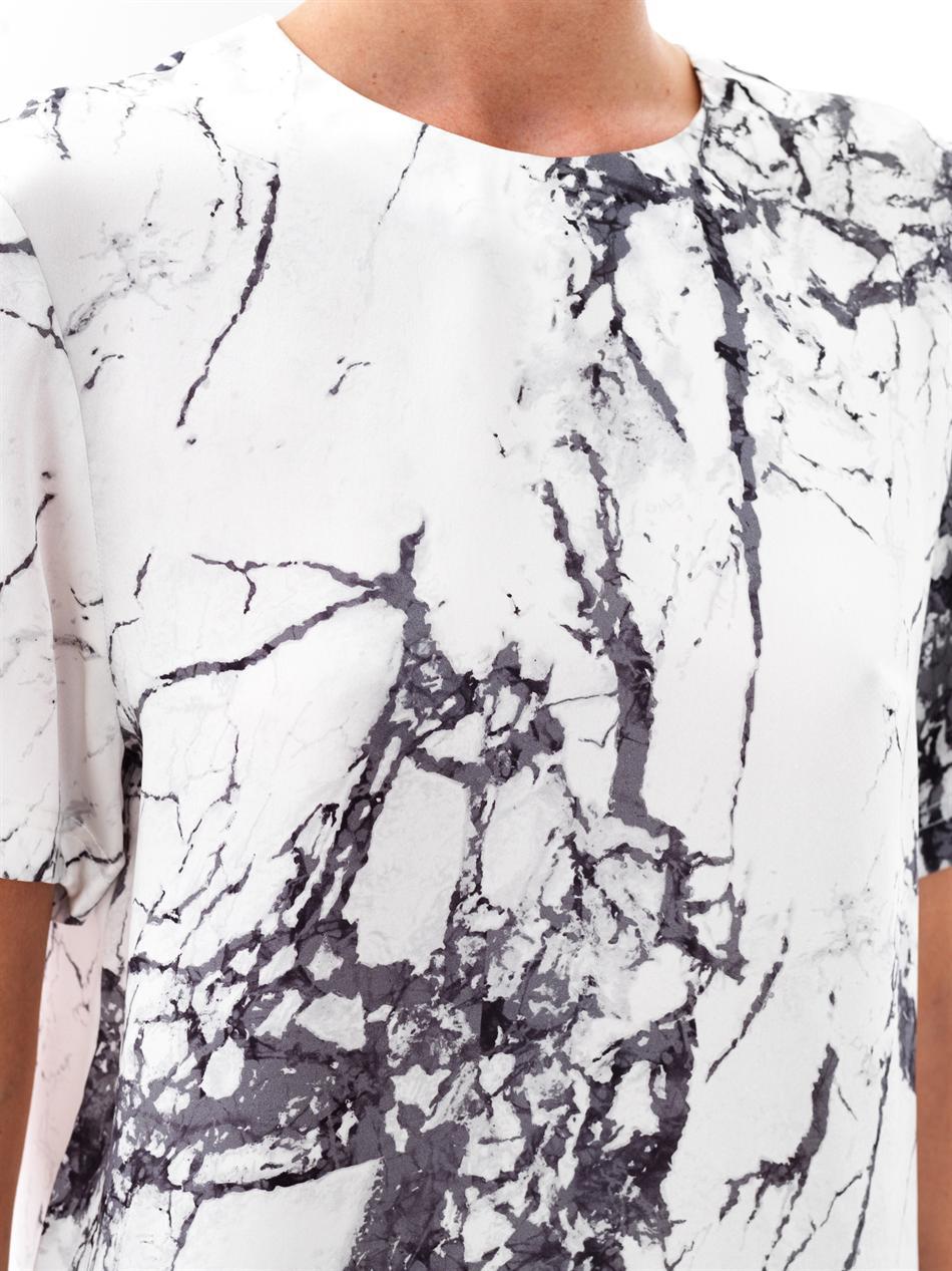 Lyst Balenciaga Marble Print Silk Top In White