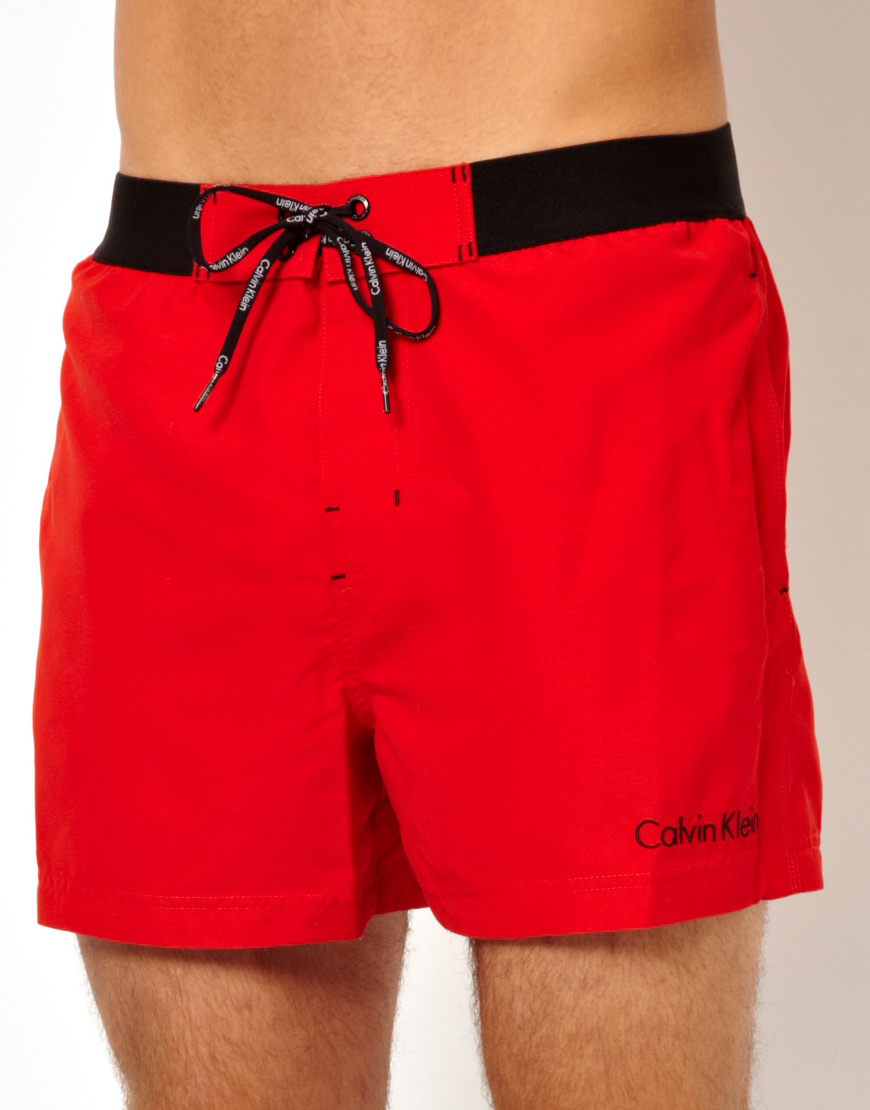 7fa473a3b3 Calvin Klein Front Tie Swim Shorts in Red for Men - Lyst