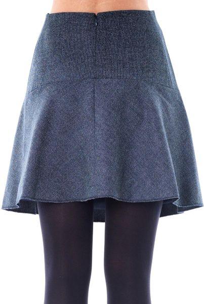 carven tweed skater skirt in blue navy lyst