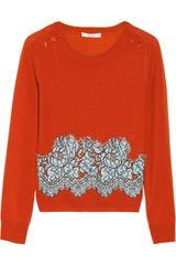 Carven Lace-appliquéd Fine-knit Wool Sweater - Lyst