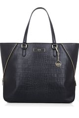 DKNY Large Croceffect Leather Tote - Lyst