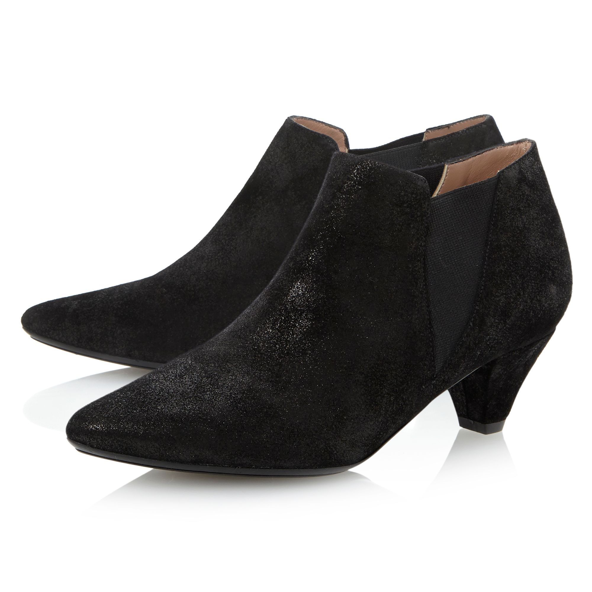 dune black saxe pointed kitten heel ankle shoe boots in