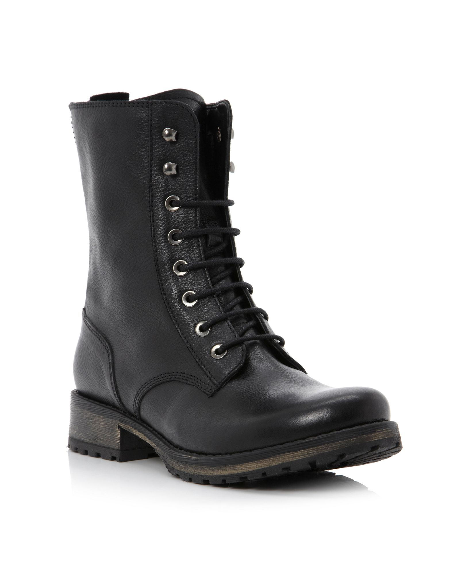 Dune Prop Front Lace Up Low Boots In Black Black Leather