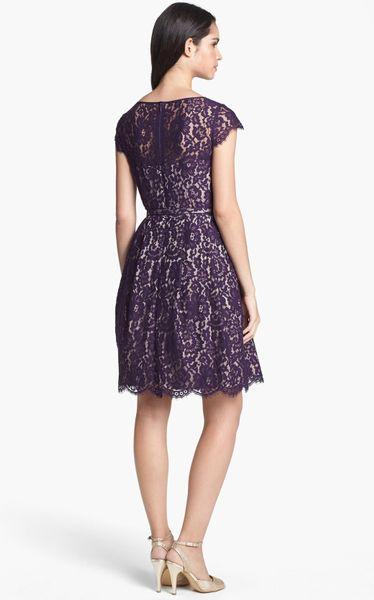 Eliza J Lace Fit Flare Dress In Black Purple Lyst