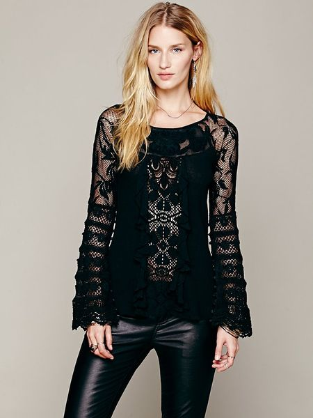 Free People Ruffled Whimsy Top in Black - Lyst