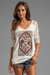 Free People Lady in Lace Graphic Top in Ivory - Lyst