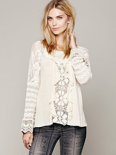 Free People Ruffled Whimsy Top in White (Ivory)