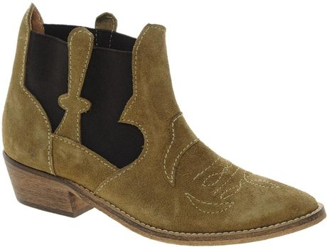 Ganni Amber Cowboy Boots In Sand Lyst