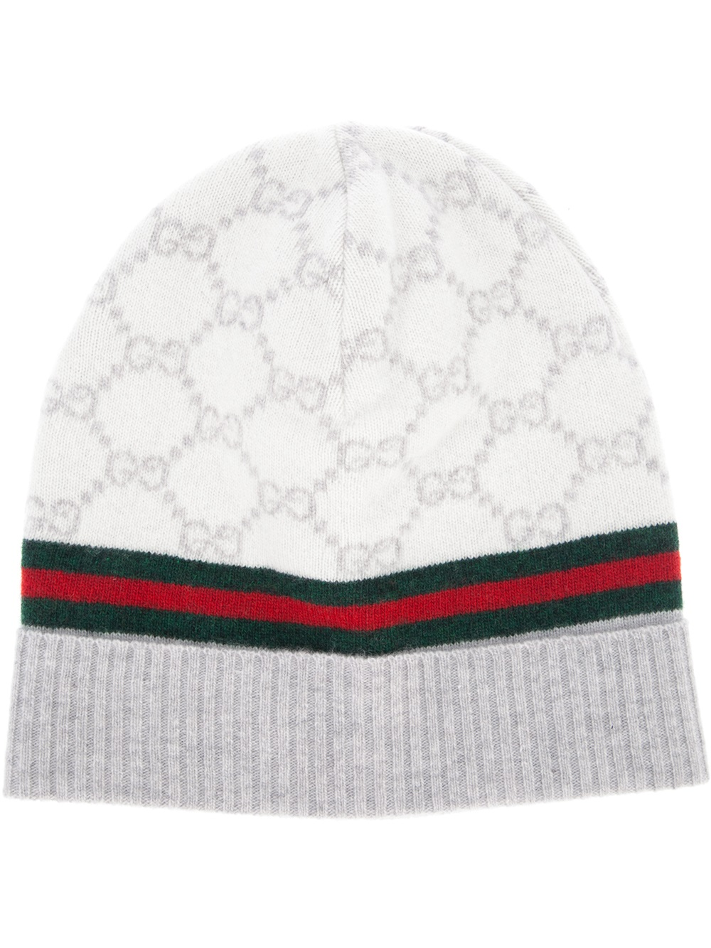 dca193bfdc3 Gucci Monogram Beanie Hat in Natural - Lyst