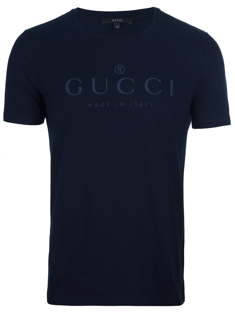 Gucci Logo Print Tshirt In Blue For Men Lyst