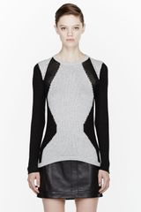 Helmut Lang Light Grey Modern Borders Sweater - Lyst