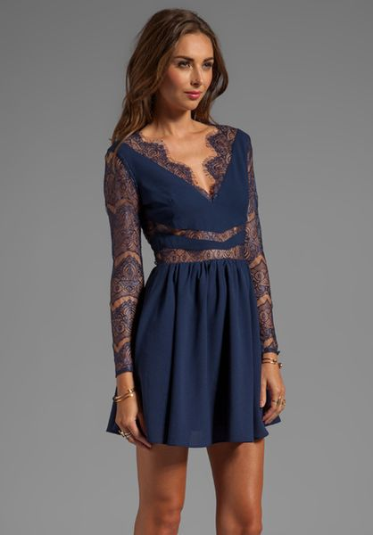 Keepsake Paradise Stars Dress With Lace Detail In Navy In