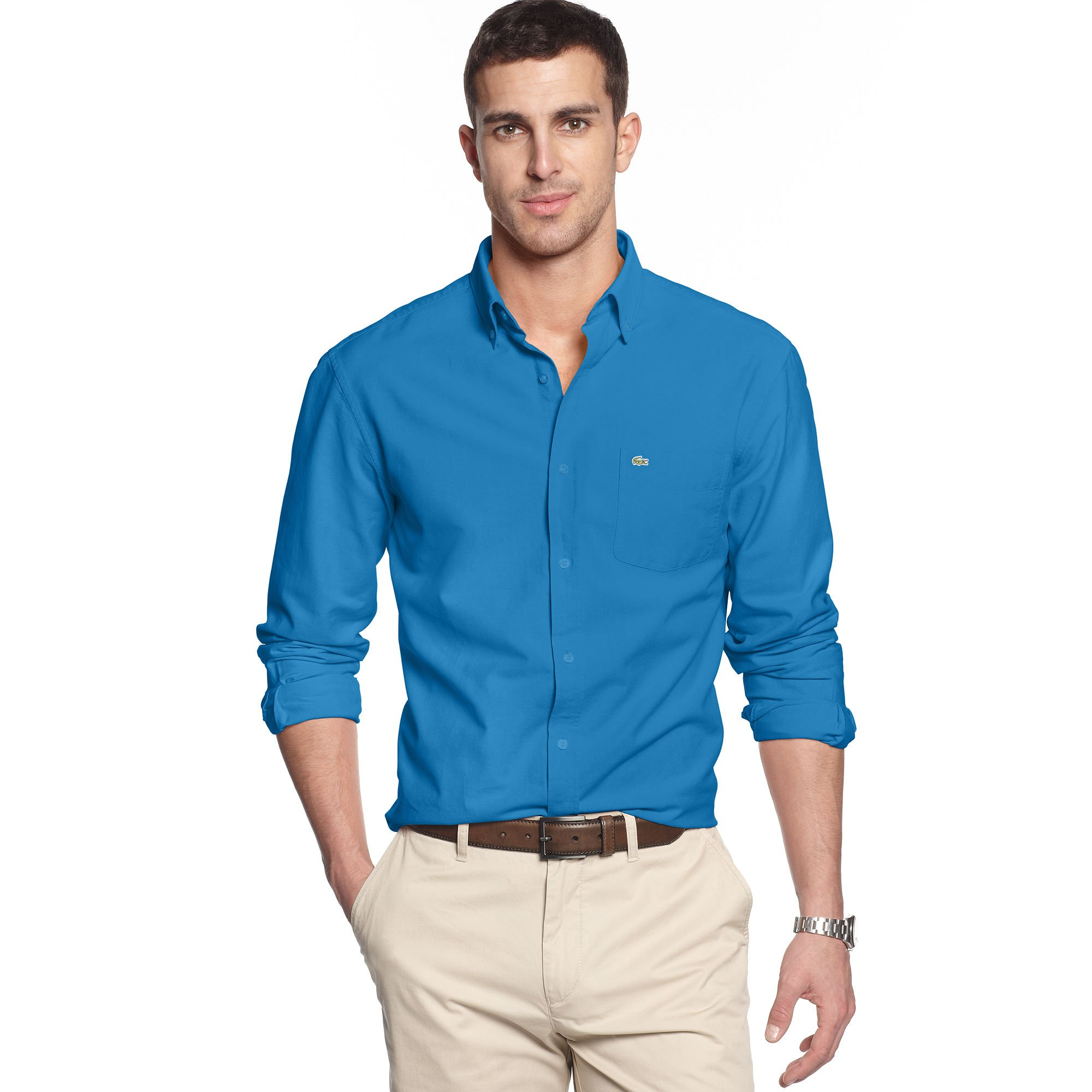 lacoste long sleeve regular fit oxford woven shirt in blue