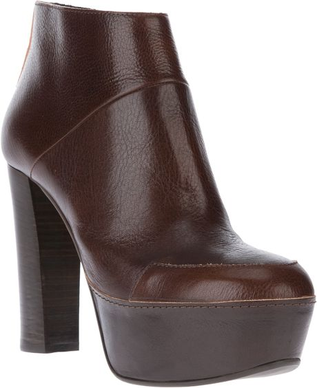 marni platform ankle boot in brown lyst