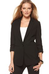 Michael Kors V Neck Three Quarter Ruched Pocket Boyfriend Blazer - Lyst