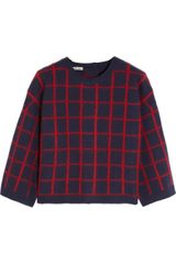 Miu Miu Checked Wool Blend Sweater - Lyst