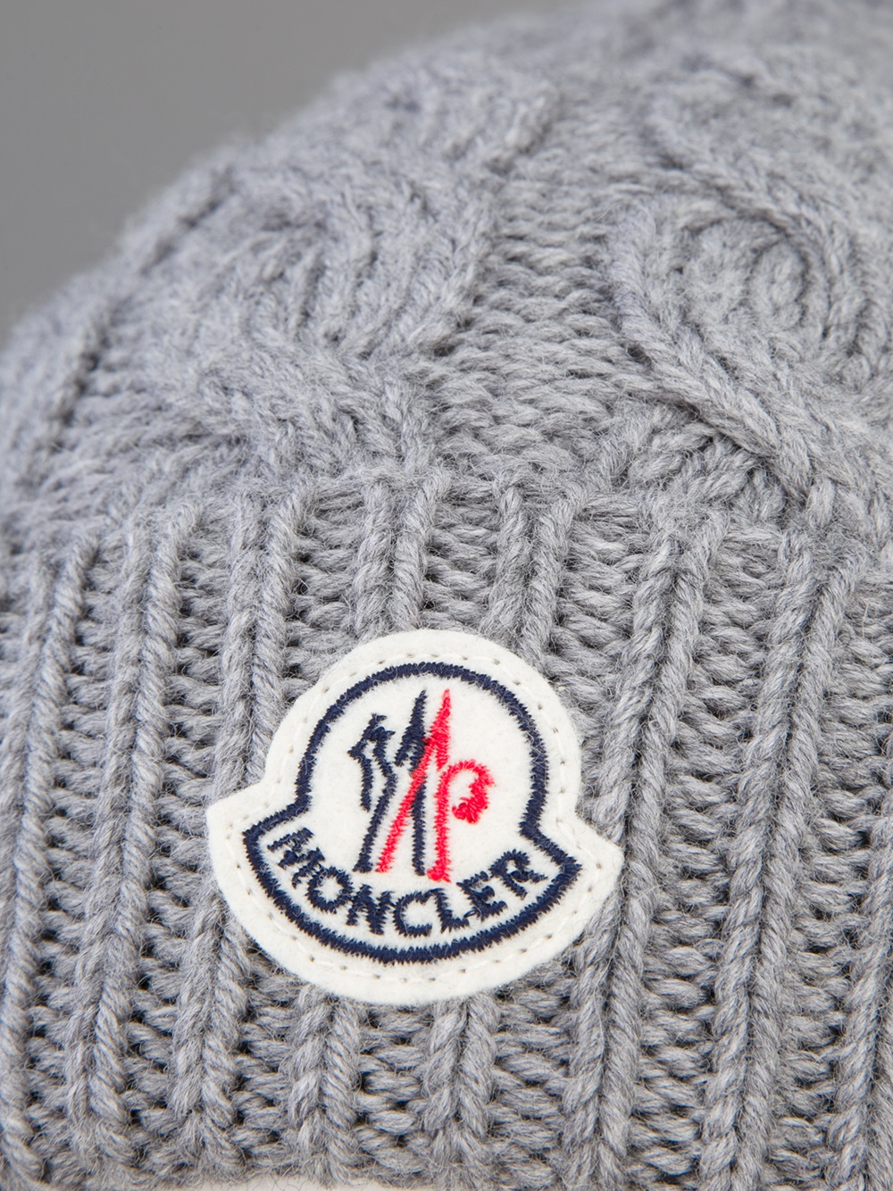 Lyst Moncler Cable Knit Beanie Hat In Gray For Men