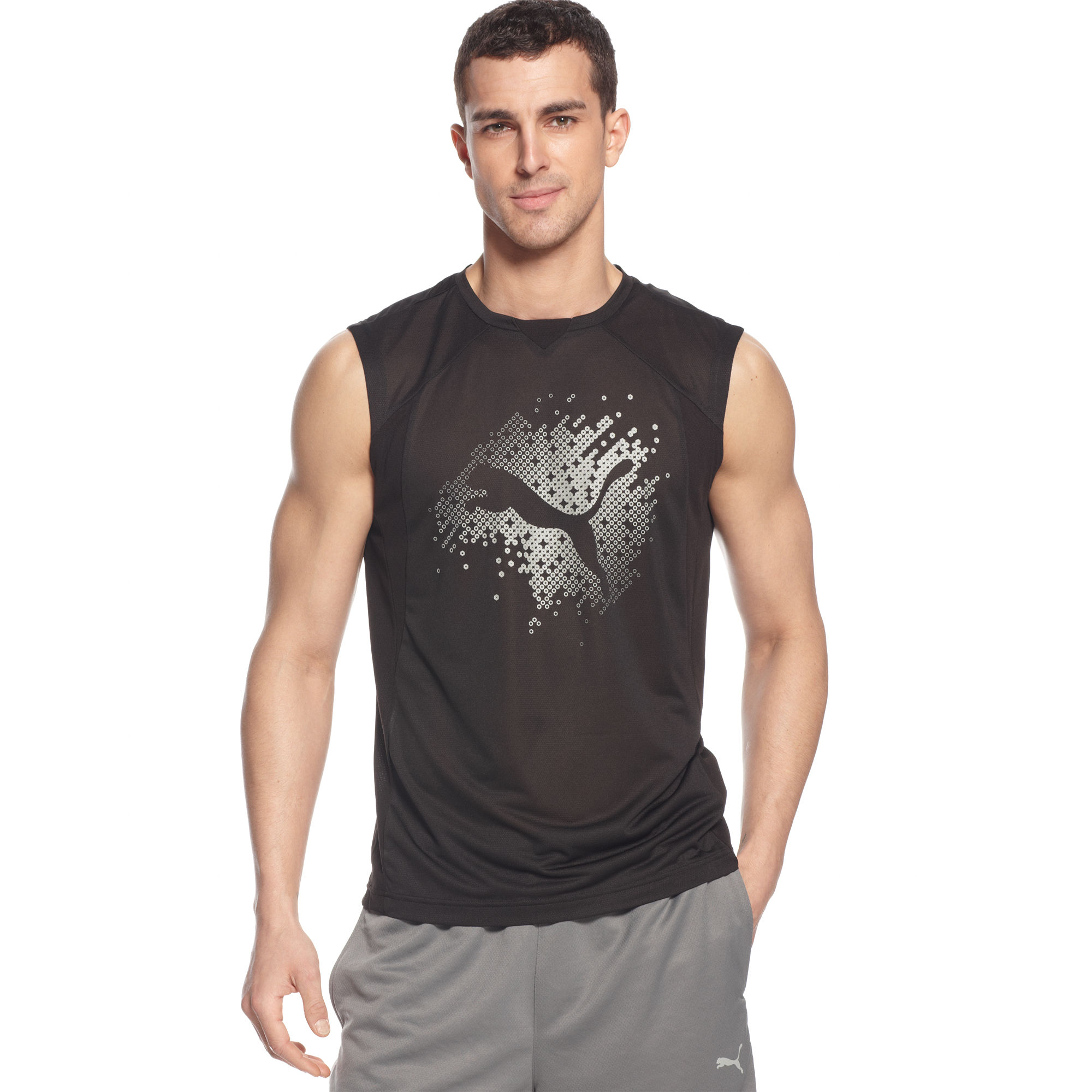 Puma coolcell graphic logo sleeveless tshirt in black for for Sleeveless graphic t shirts