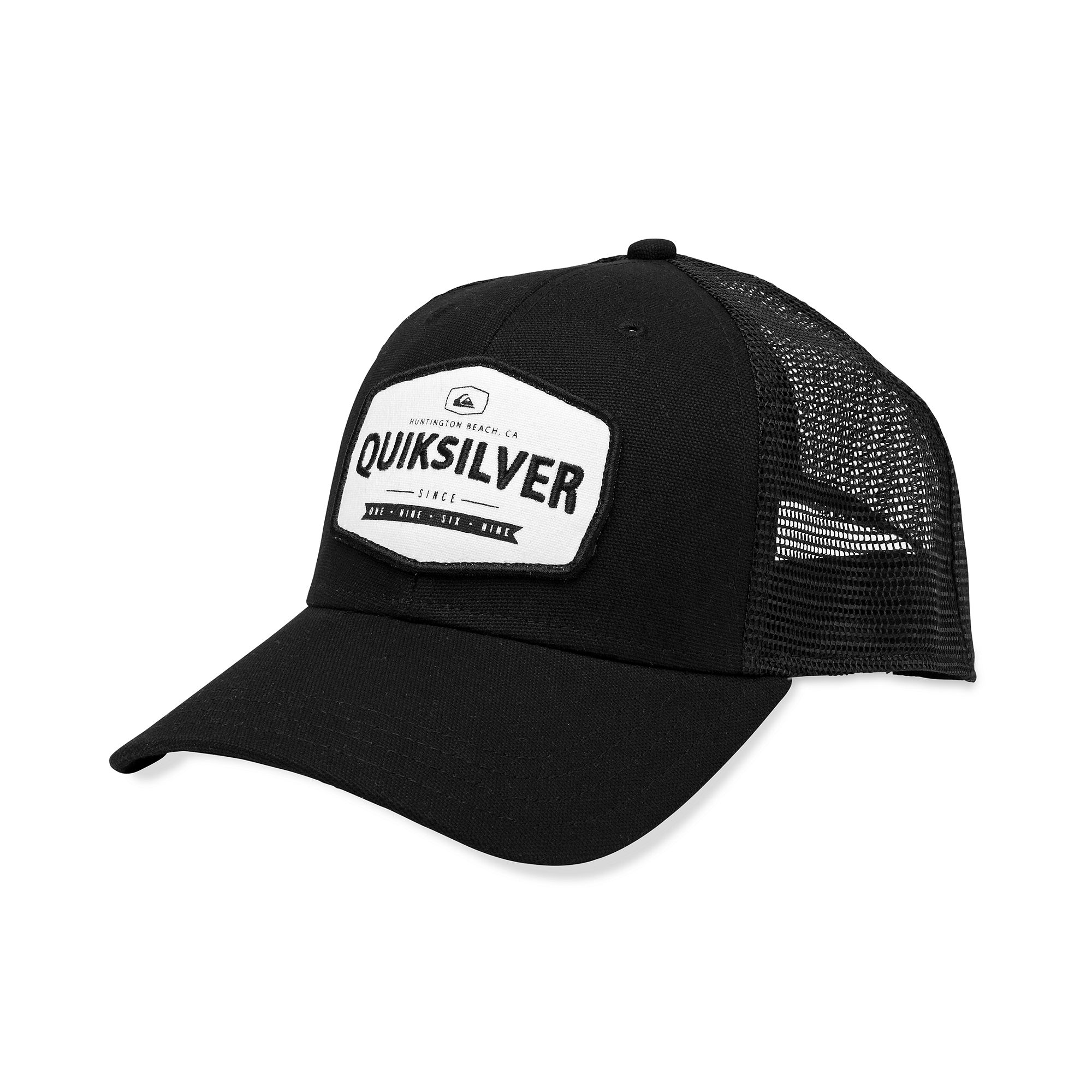 76be002f ... shopping lyst quiksilver please hold patch trucker hat in black for men  80bfe a5795