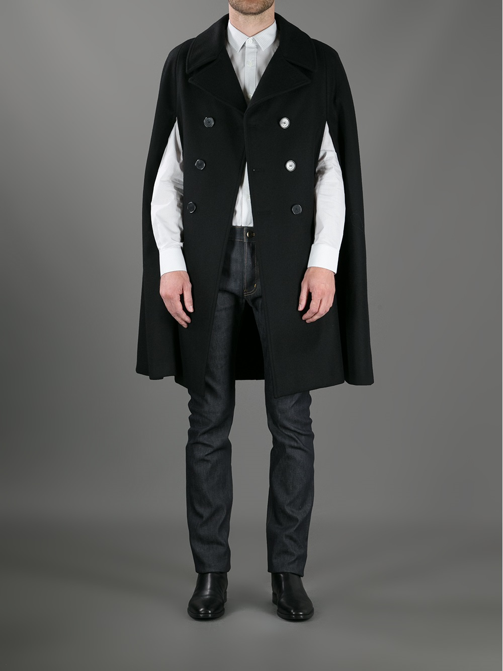 b1fdd4347ce Saint Laurent Double Breasted Cape Coat in Black for Men - Lyst