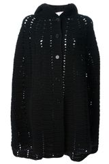 Saint Laurent Hooded Knit Cape - Lyst
