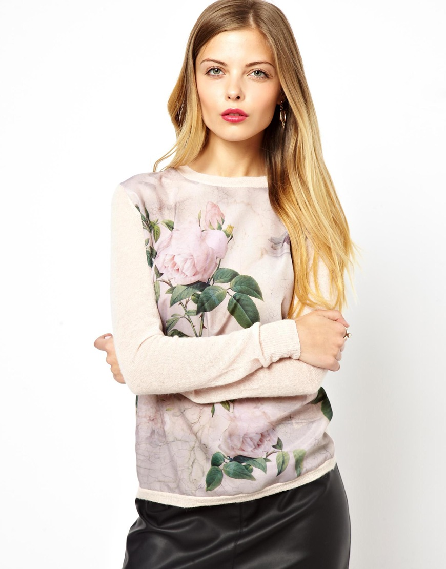 Lyst - Ted Baker Knitted Jumper with Woven Front Panel in Floral ... c0453b1b2f