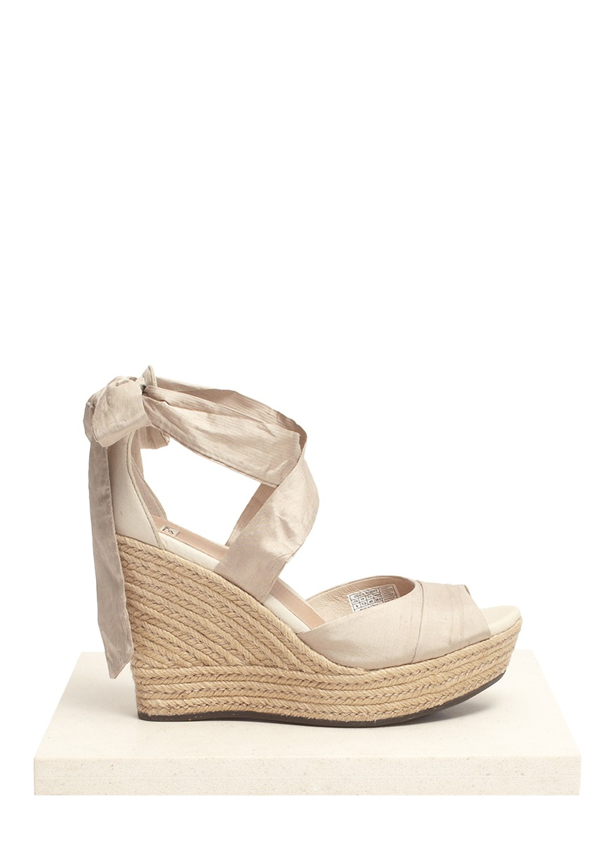 d2e9235b48 UGG Lucianna Silk-tie Wedge Sandals in Natural - Lyst
