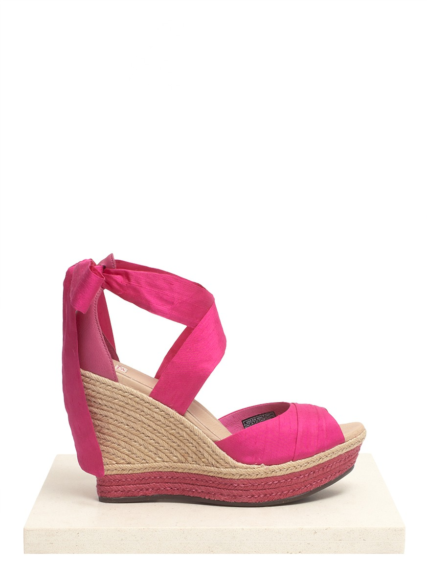 4561a1a189fc Lyst - UGG Lucianna Silk Wedge Espadrilles in Pink