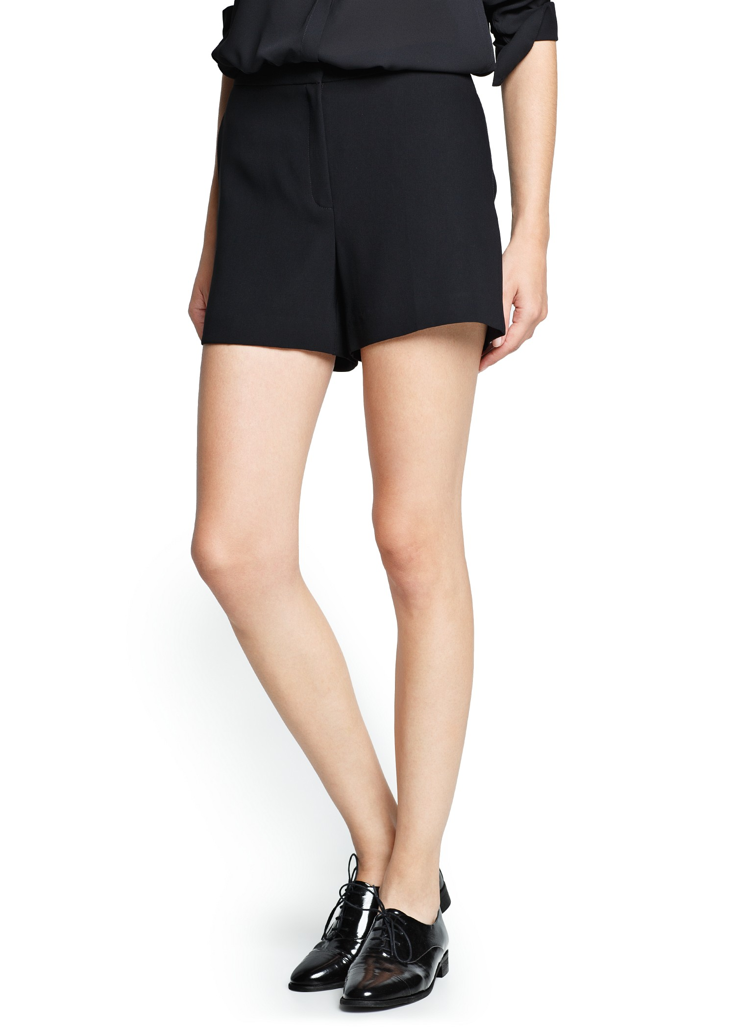 Mango High-waist Flowy Shorts in Black | Lyst