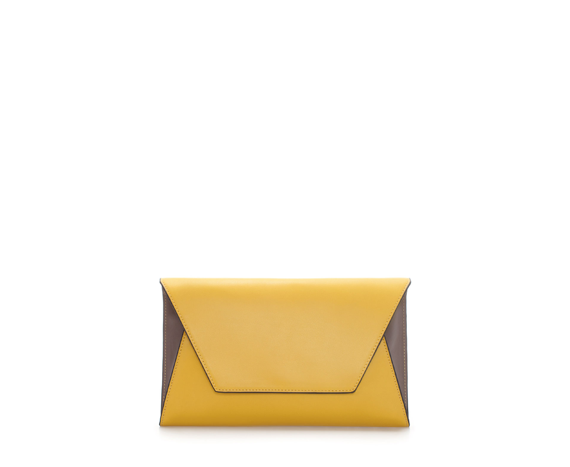 Zara Basic Clutch Bag in Yellow | Lyst