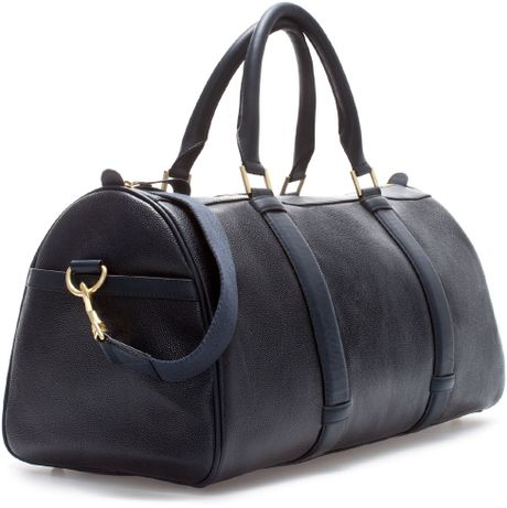Zara Etched Leather Bowling Bag in Blue for Men (Navy blue)