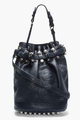 Alexander Wang Black Leather and Silver Studded Diego Bucket Bag - Lyst
